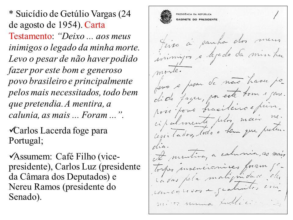 * Suicídio de Getúlio Vargas (24 de agosto de 1954). Carta Testamento: Deixo... aos meus inimigos o legado da minha morte. Levo o pesar de não haver p
