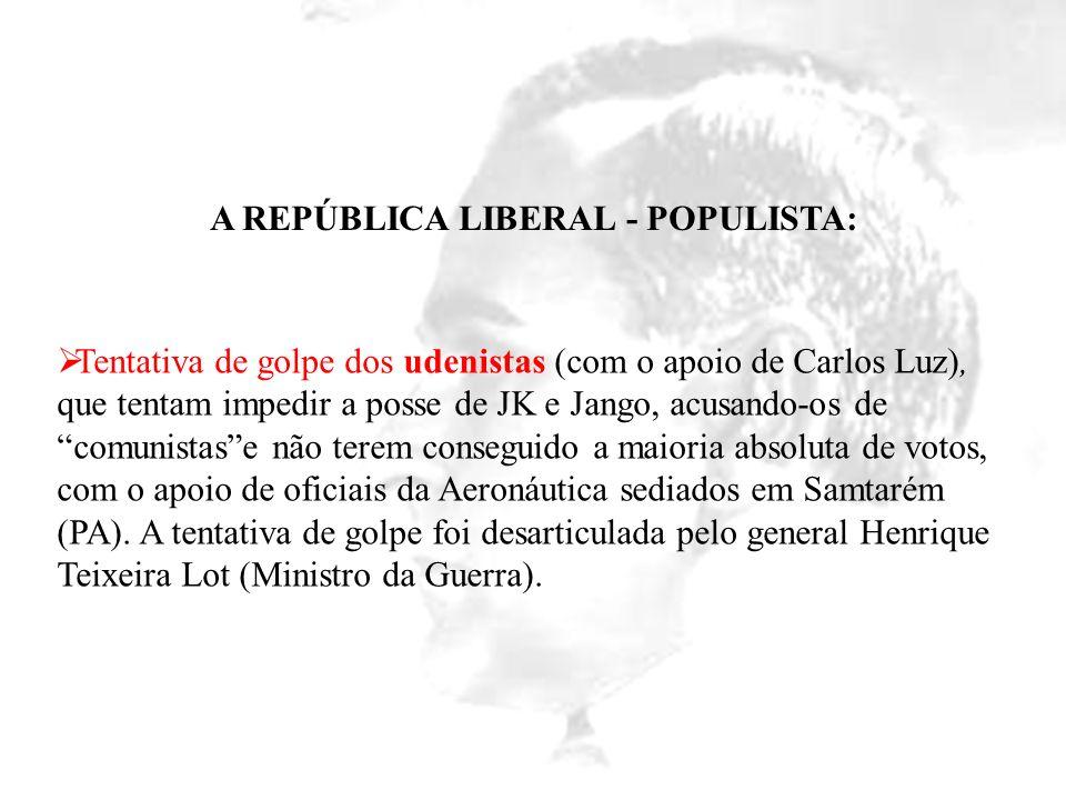 A REPÚBLICA LIBERAL - POPULISTA: Tentativa de golpe dos udenistas (com o apoio de Carlos Luz), que tentam impedir a posse de JK e Jango, acusando-os d