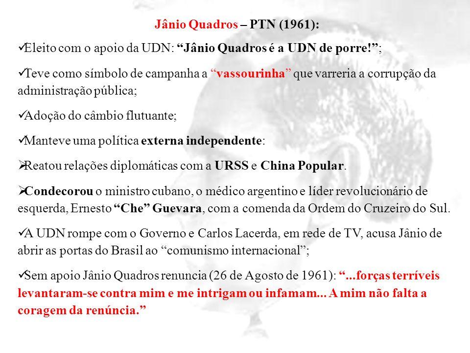 Jânio Quadros – PTN (1961): Eleito com o apoio da UDN: Jânio Quadros é a UDN de porre!; Teve como símbolo de campanha a vassourinha que varreria a cor