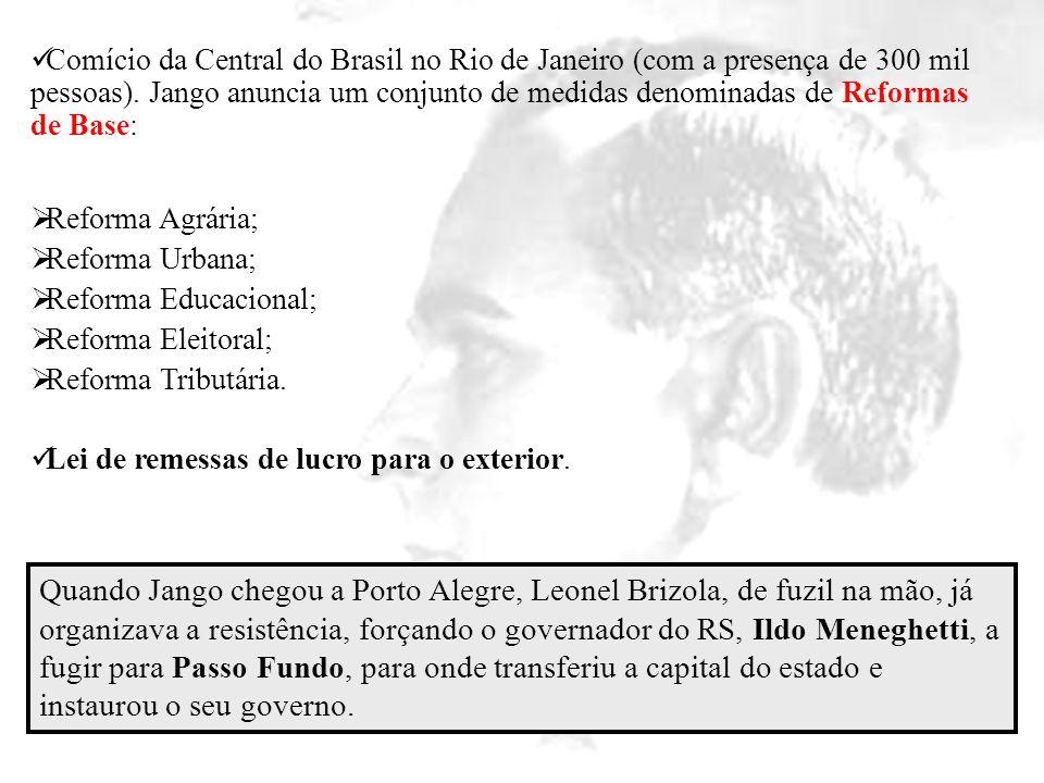 Comício da Central do Brasil no Rio de Janeiro (com a presença de 300 mil pessoas). Jango anuncia um conjunto de medidas denominadas de Reformas de Ba