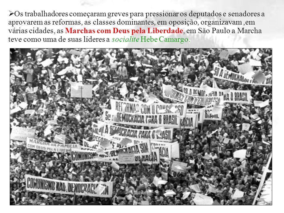 Os trabalhadores começaram greves para pressionar os deputados e senadores a aprovarem as reformas, as classes dominantes, em oposição, organizavam,em