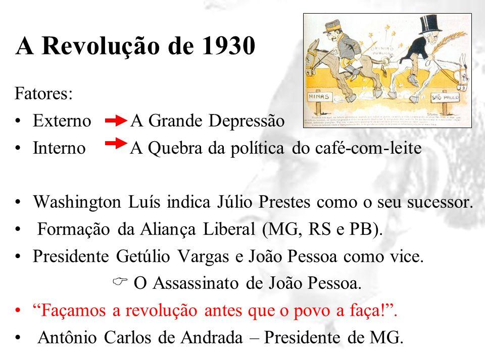 A Revolução de 1930 Fatores: Externo A Grande Depressão Interno A Quebra da política do café-com-leite Washington Luís indica Júlio Prestes como o seu