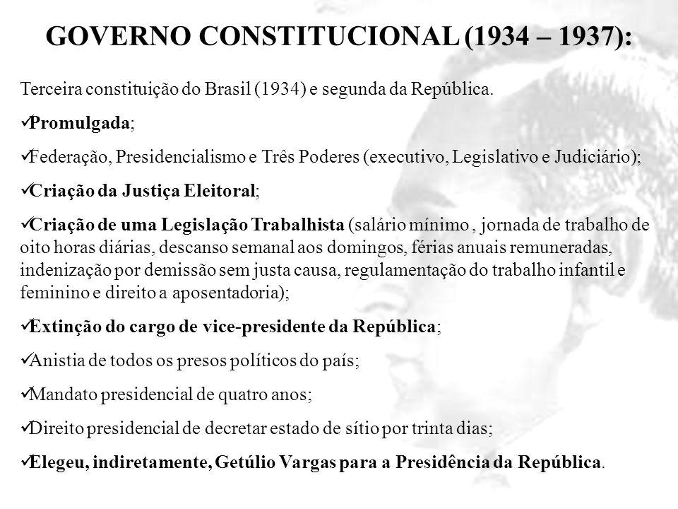 GOVERNO CONSTITUCIONAL (1934 – 1937): Terceira constituição do Brasil (1934) e segunda da República. Promulgada; Federação, Presidencialismo e Três Po