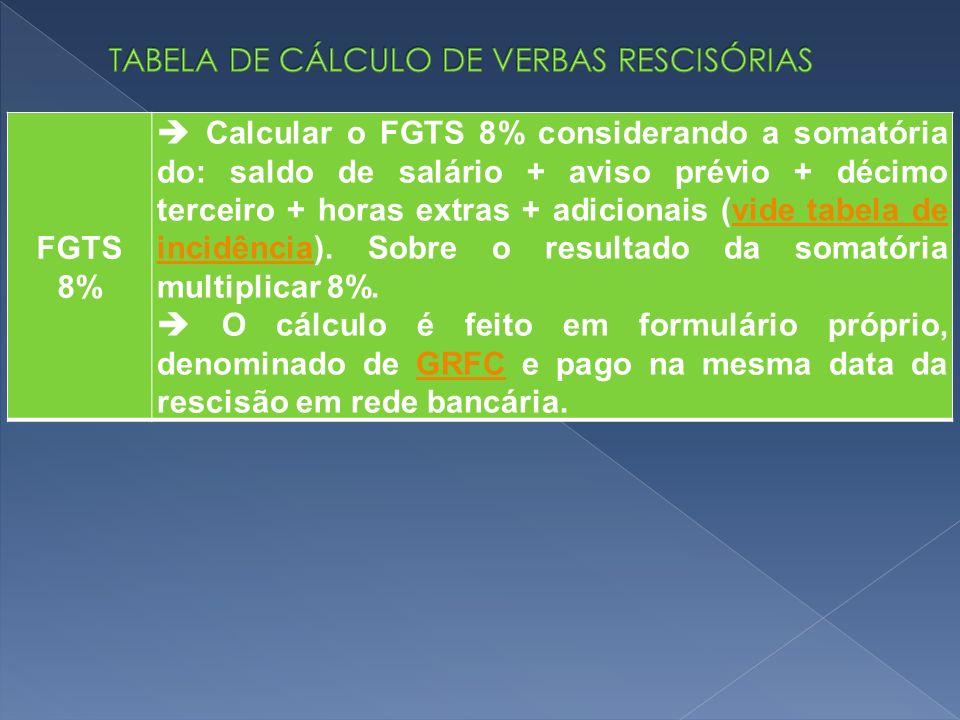 FGTS 8% Calcular o FGTS 8% considerando a somatória do: saldo de salário + aviso prévio + décimo terceiro + horas extras + adicionais (vide tabela de incidência).