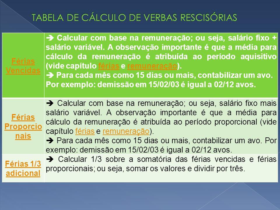 Férias Vencidas Calcular com base na remuneração; ou seja, salário fixo + salário variável.