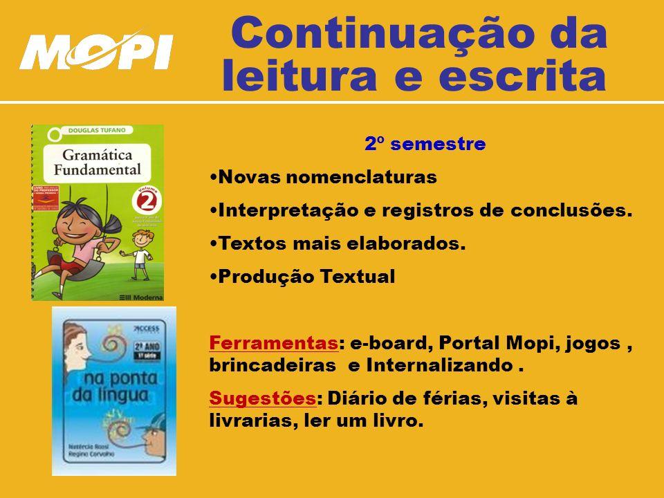 Continuação da leitura e escrita 2º semestre Novas nomenclaturas Interpretação e registros de conclusões.