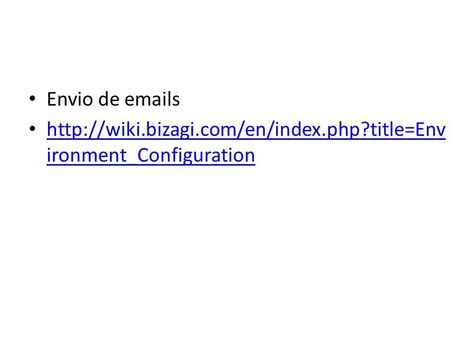Envio de emails http://wiki.bizagi.com/en/index.php?title=Env ironment_Configuration http://wiki.bizagi.com/en/index.php?title=Env ironment_Configurat