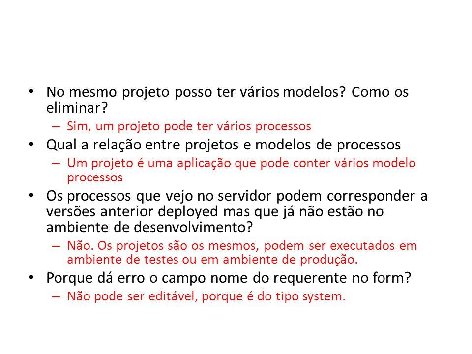 No mesmo projeto posso ter vários modelos? Como os eliminar? – Sim, um projeto pode ter vários processos Qual a relação entre projetos e modelos de pr