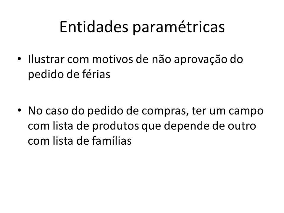 Entidades paramétricas Ilustrar com motivos de não aprovação do pedido de férias No caso do pedido de compras, ter um campo com lista de produtos que