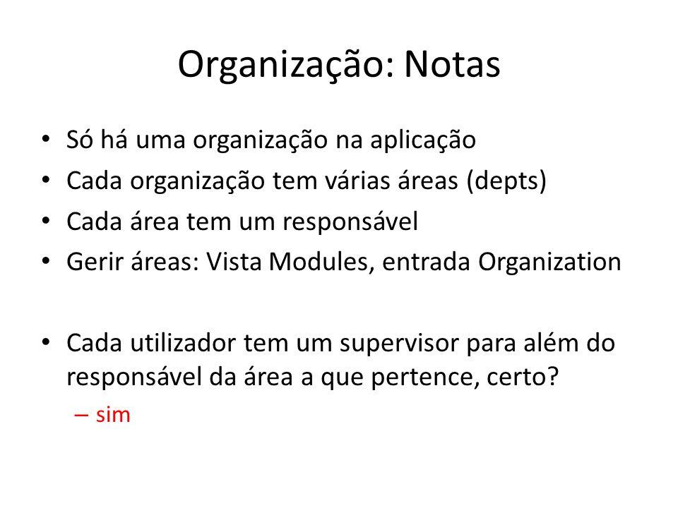 Organização: Notas Só há uma organização na aplicação Cada organização tem várias áreas (depts) Cada área tem um responsável Gerir áreas: Vista Module
