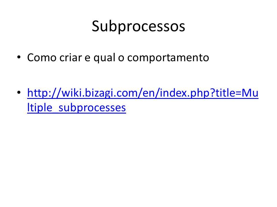 Subprocessos Como criar e qual o comportamento http://wiki.bizagi.com/en/index.php?title=Mu ltiple_subprocesses http://wiki.bizagi.com/en/index.php?ti