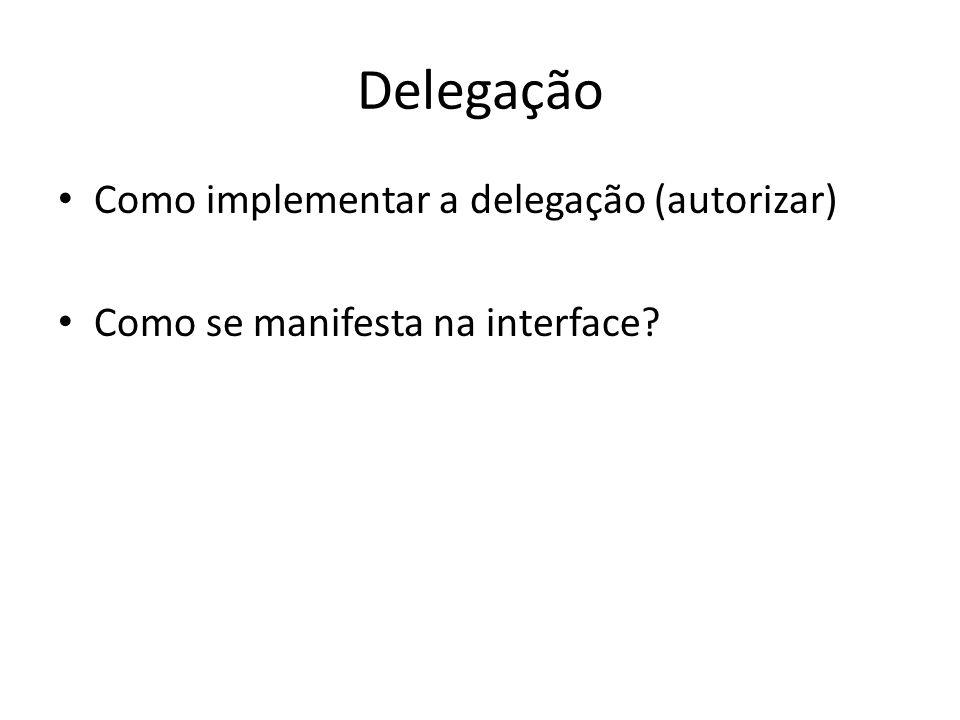 Delegação Como implementar a delegação (autorizar) Como se manifesta na interface?