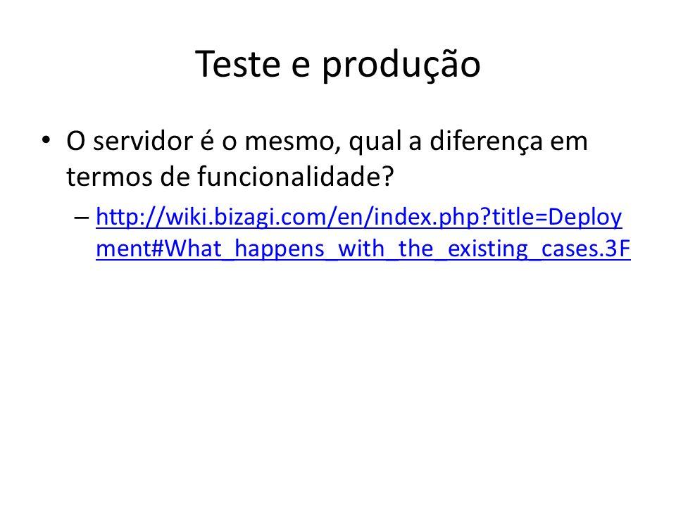 Teste e produção O servidor é o mesmo, qual a diferença em termos de funcionalidade? – http://wiki.bizagi.com/en/index.php?title=Deploy ment#What_happ