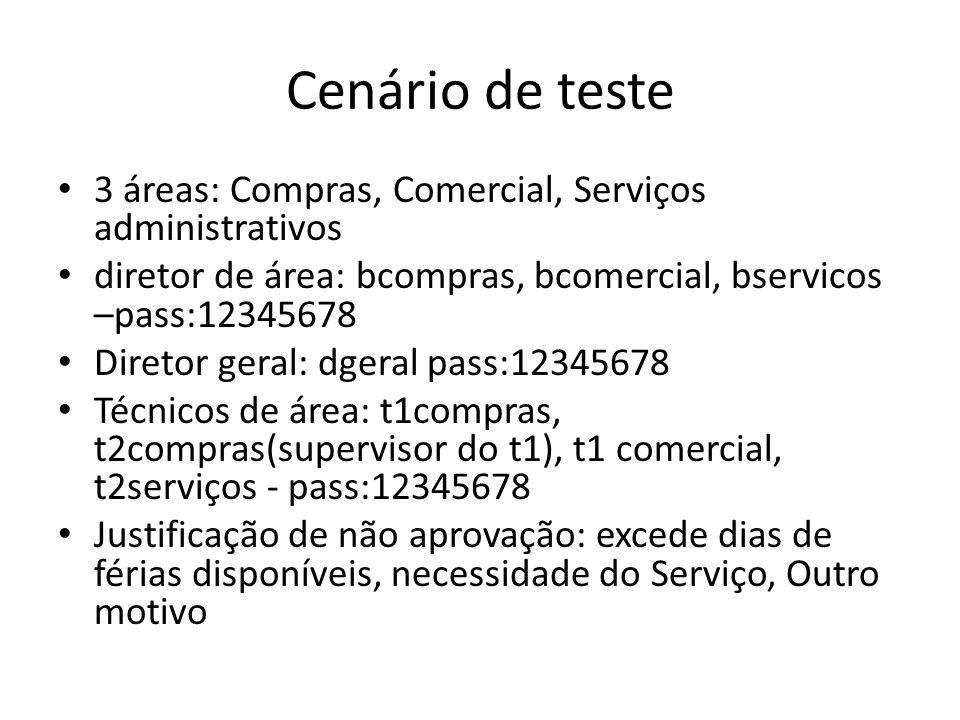 Cenário de teste 3 áreas: Compras, Comercial, Serviços administrativos diretor de área: bcompras, bcomercial, bservicos –pass:12345678 Diretor geral: