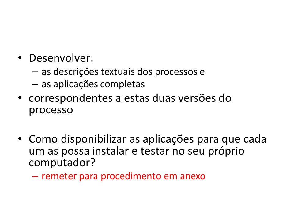 Desenvolver: – as descrições textuais dos processos e – as aplicações completas correspondentes a estas duas versões do processo Como disponibilizar a