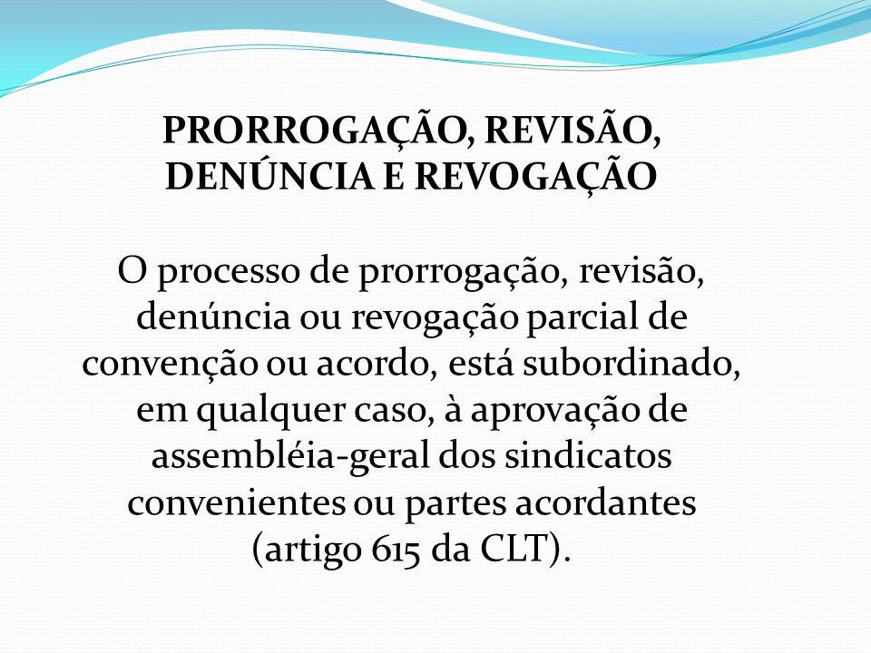 PRORROGAÇÃO, REVISÃO, DENÚNCIA E REVOGAÇÃO O processo de prorrogação, revisão, denúncia ou revogação parcial de convenção ou acordo, está subordinado,