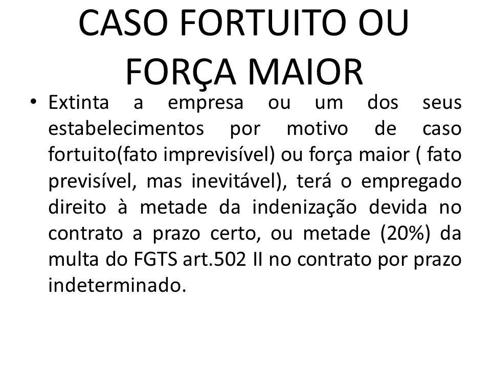 CASO FORTUITO OU FORÇA MAIOR Extinta a empresa ou um dos seus estabelecimentos por motivo de caso fortuito(fato imprevisível) ou força maior ( fato pr