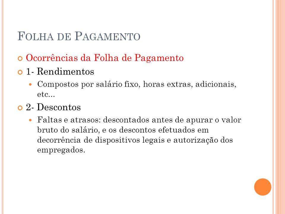 F OLHA DE P AGAMENTO Ocorrências da Folha de Pagamento 1- Rendimentos Compostos por salário fixo, horas extras, adicionais, etc... 2- Descontos Faltas