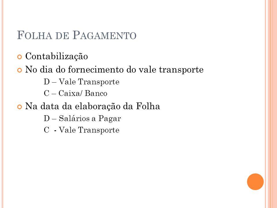 F OLHA DE P AGAMENTO Contabilização No dia do fornecimento do vale transporte D – Vale Transporte C – Caixa/ Banco Na data da elaboração da Folha D –
