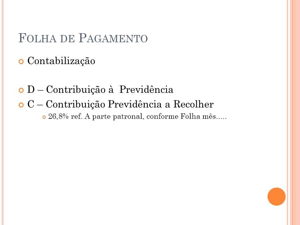 F OLHA DE P AGAMENTO Contabilização D – Contribuição à Previdência C – Contribuição Previdência a Recolher 26,8% ref. A parte patronal, conforme Folha