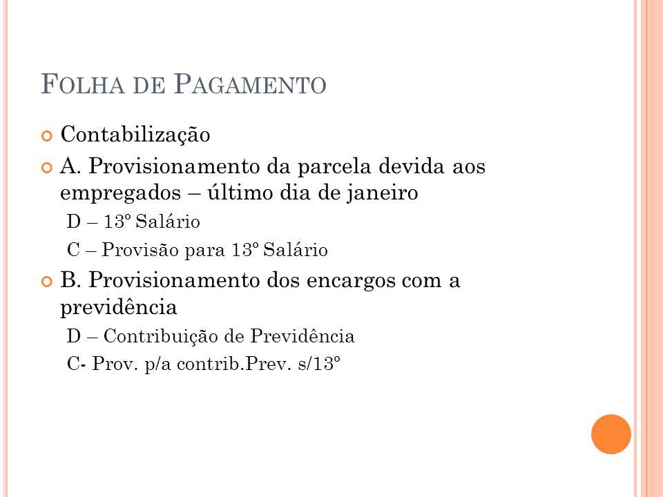 F OLHA DE P AGAMENTO Contabilização A. Provisionamento da parcela devida aos empregados – último dia de janeiro D – 13º Salário C – Provisão para 13º
