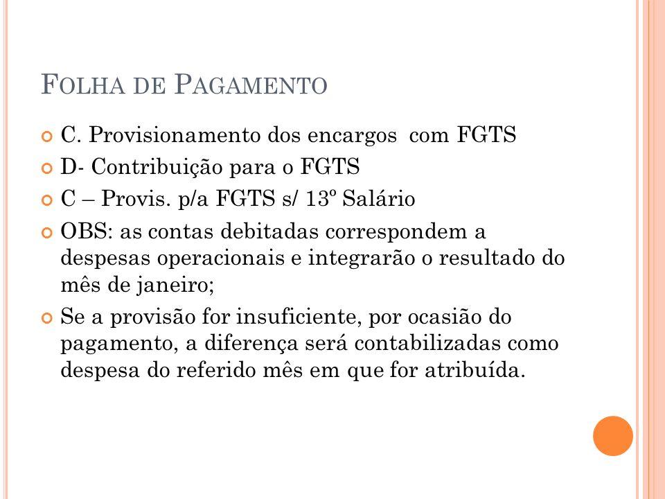 F OLHA DE P AGAMENTO C. Provisionamento dos encargos com FGTS D- Contribuição para o FGTS C – Provis. p/a FGTS s/ 13º Salário OBS: as contas debitadas