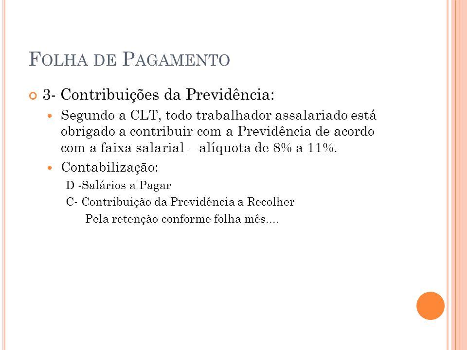 F OLHA DE P AGAMENTO 4- Imposto de Renda Imposto de Renda na Fonte a ser descontado do empregado, calculado com base fixada em tabela de acordo com a faixa salarial.
