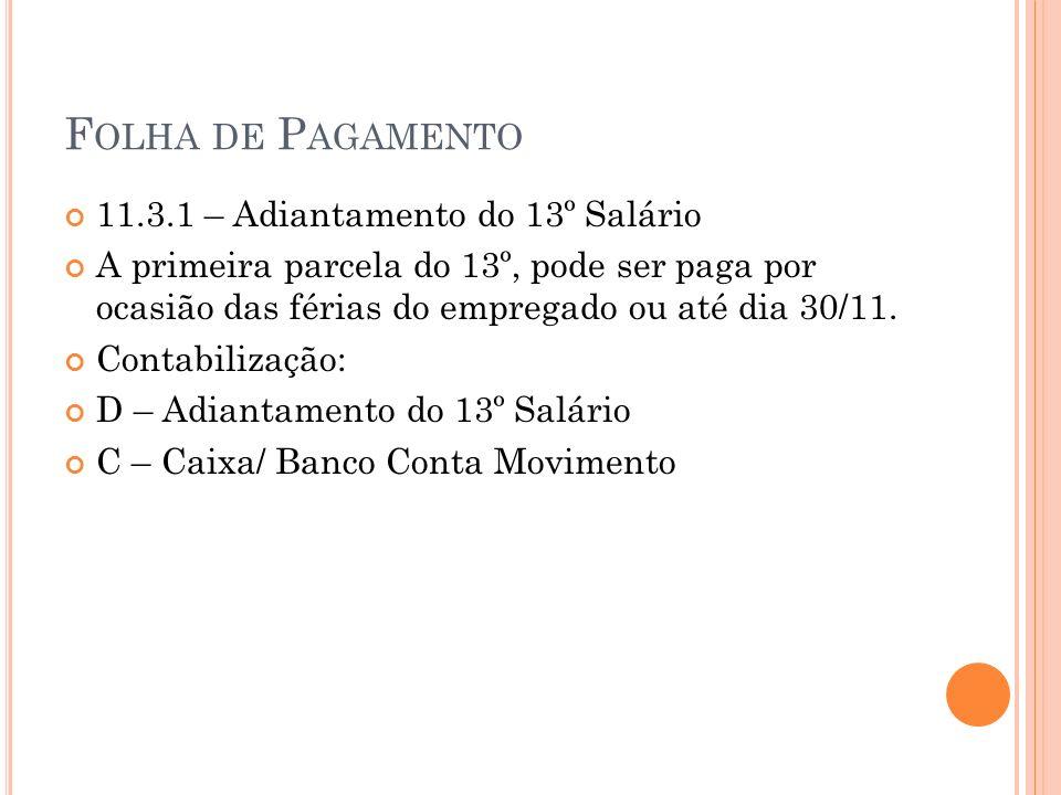 F OLHA DE P AGAMENTO 11.3.1 – Adiantamento do 13º Salário A primeira parcela do 13º, pode ser paga por ocasião das férias do empregado ou até dia 30/1