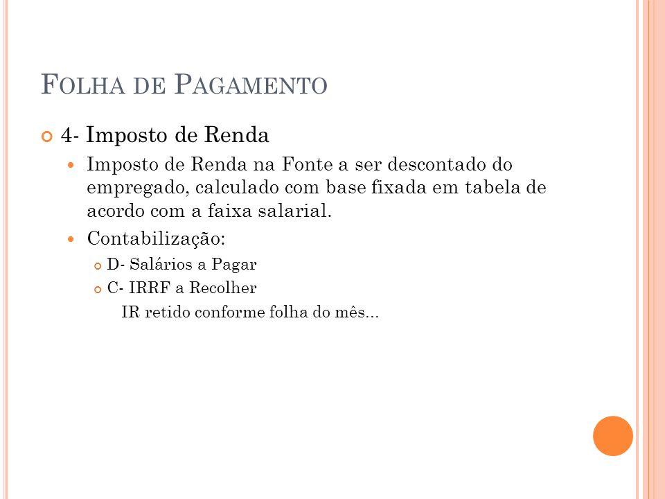 F OLHA DE P AGAMENTO 4- Imposto de Renda Imposto de Renda na Fonte a ser descontado do empregado, calculado com base fixada em tabela de acordo com a