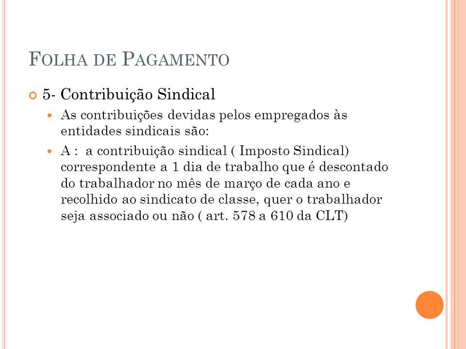 F OLHA DE P AGAMENTO Contabilização D – Contribuição à Previdência C – Contribuição Previdência a Recolher 26,8% ref.