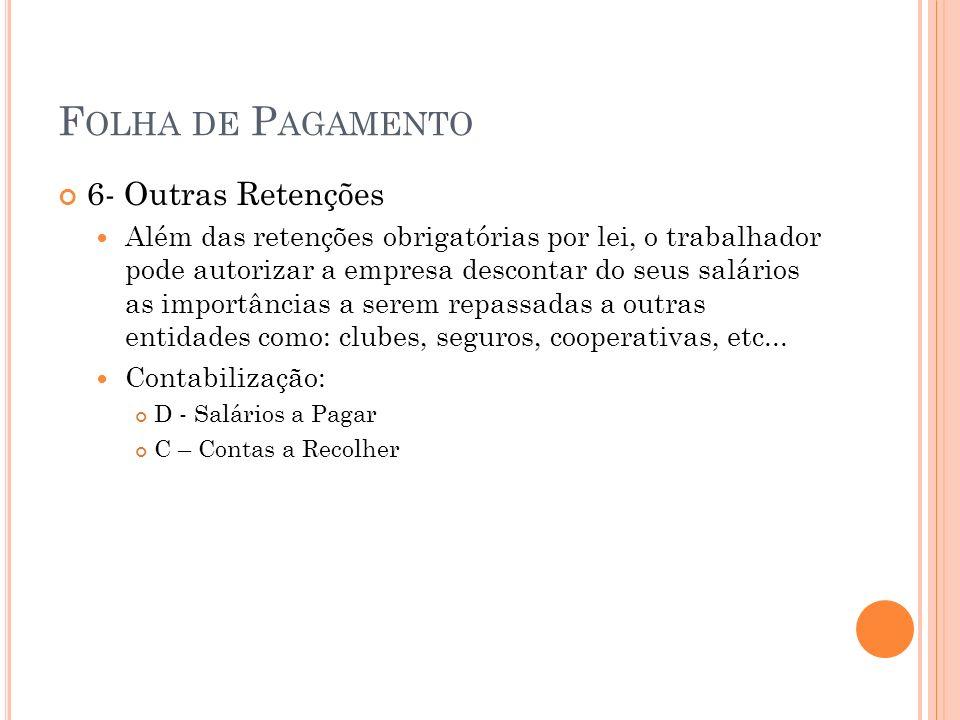 F OLHA DE P AGAMENTO 11.3 – 13º Salário Provisão Ex: a.