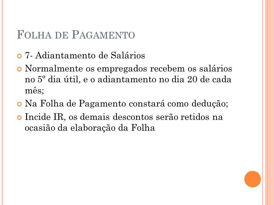 F OLHA DE P AGAMENTO Contabilização A.