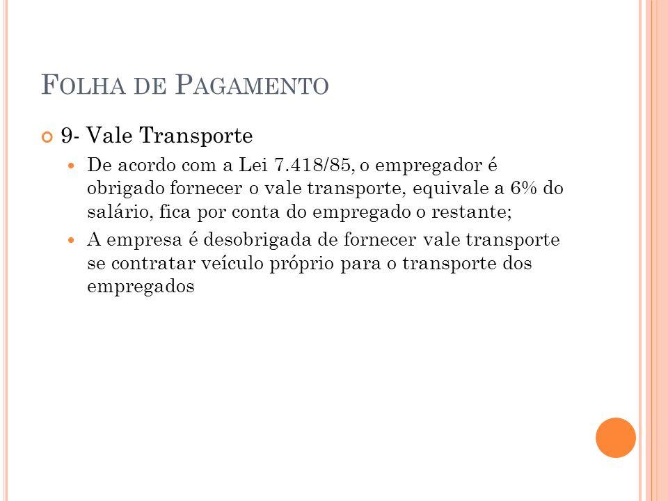 F OLHA DE P AGAMENTO 9- Vale Transporte De acordo com a Lei 7.418/85, o empregador é obrigado fornecer o vale transporte, equivale a 6% do salário, fi