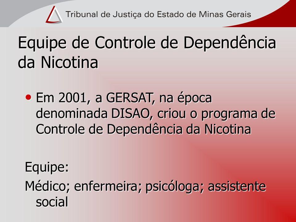 Equipe de Controle de Dependência da Nicotina Em 2001, a GERSAT, na época denominada DISAO, criou o programa de Controle de Dependência da Nicotina Em