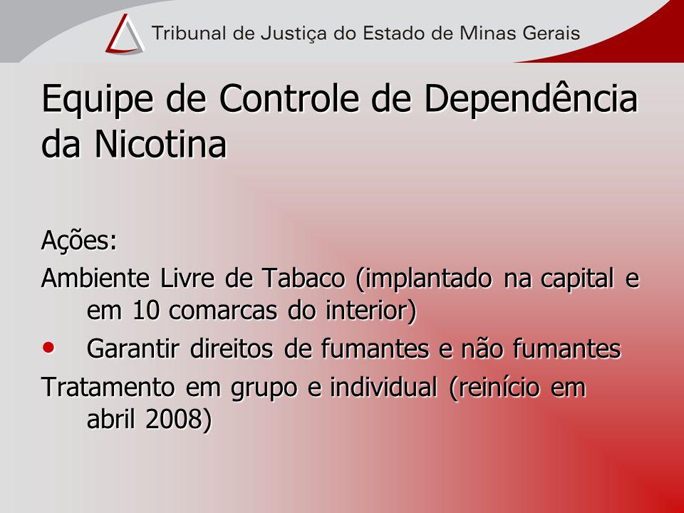 Equipe de Controle de Dependência da Nicotina Ações: Ambiente Livre de Tabaco (implantado na capital e em 10 comarcas do interior) Garantir direitos d