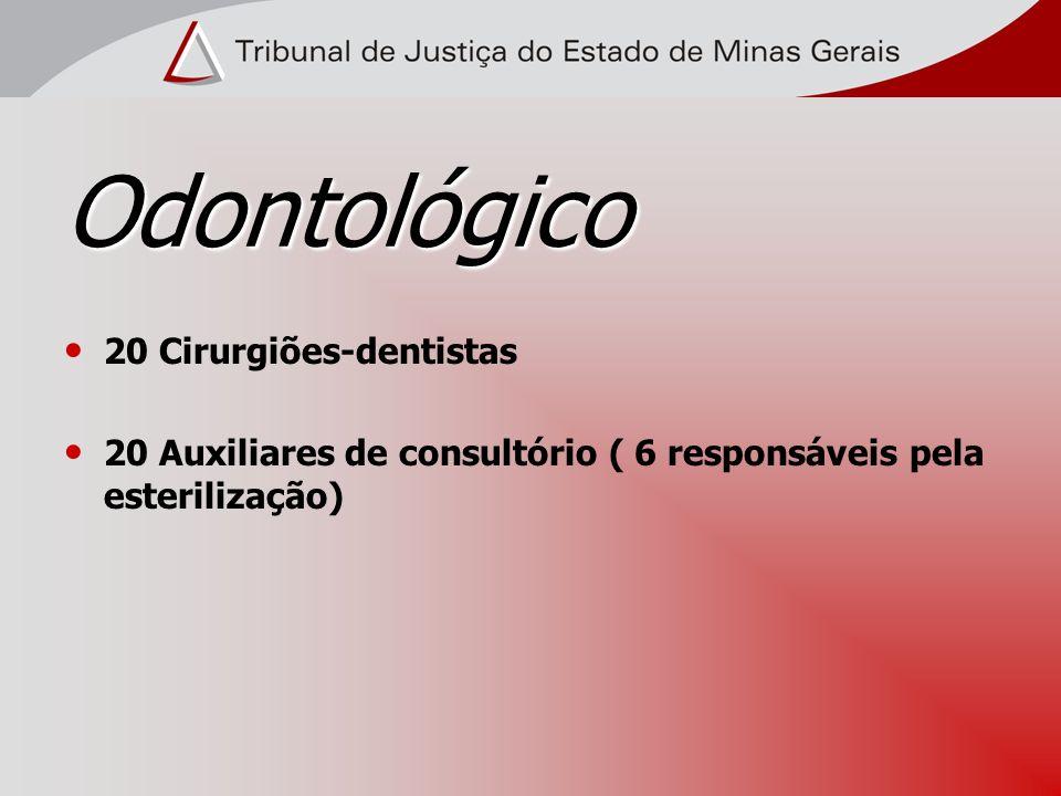 Odontológico 20 Cirurgiões-dentistas 20 Auxiliares de consultório ( 6 responsáveis pela esterilização)