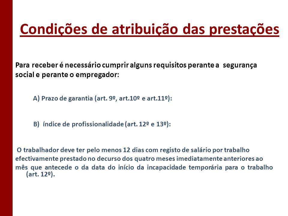 Condição de atribuição das prestações (continuação) Art.13º: C) Certificado de Incapacidade Temporária Documento necessário para requerer o subsídio de doença (SD); É efectuado pelos serviços competentes do Serviço Nacional de Saúde, através de documento emitido pelos respectivos médicos.