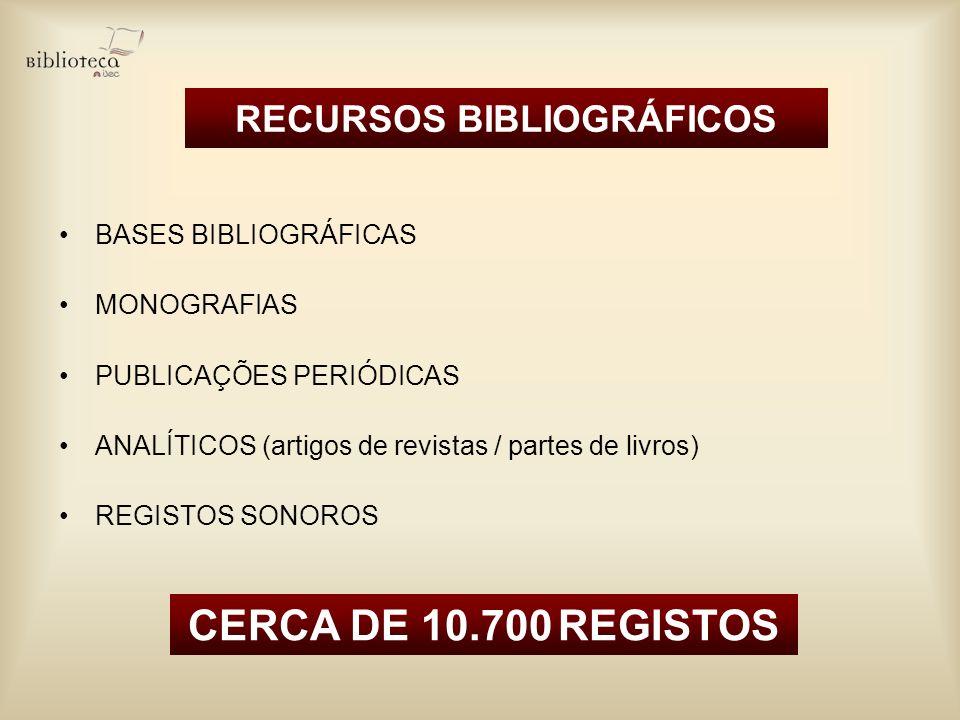 RECURSOS BIBLIOGRÁFICOS BASES BIBLIOGRÁFICAS MONOGRAFIAS PUBLICAÇÕES PERIÓDICAS ANALÍTICOS (artigos de revistas / partes de livros) REGISTOS SONOROS C