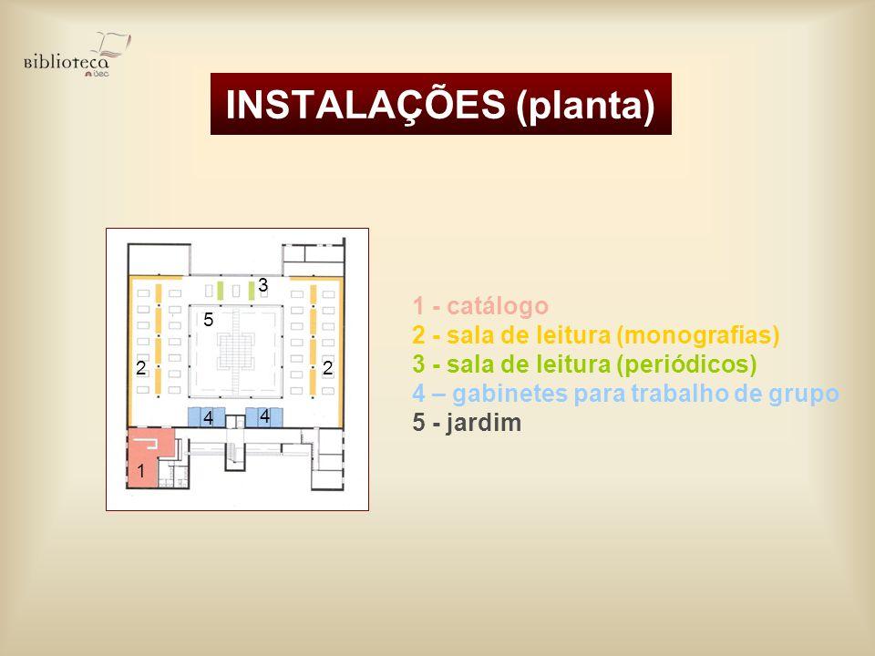 INSTALAÇÕES (planta) 1 - catálogo 2 - sala de leitura (monografias) 3 - sala de leitura (periódicos) 4 – gabinetes para trabalho de grupo 5 - jardim 1
