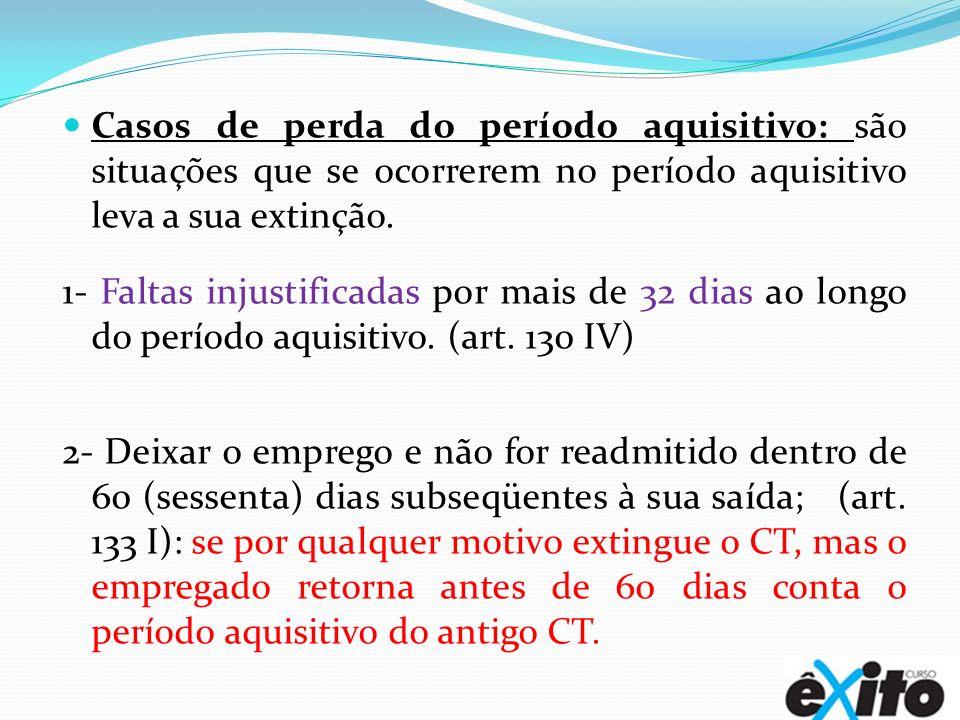 Casos de perda do período aquisitivo: são situações que se ocorrerem no período aquisitivo leva a sua extinção. 1- Faltas injustificadas por mais de 3