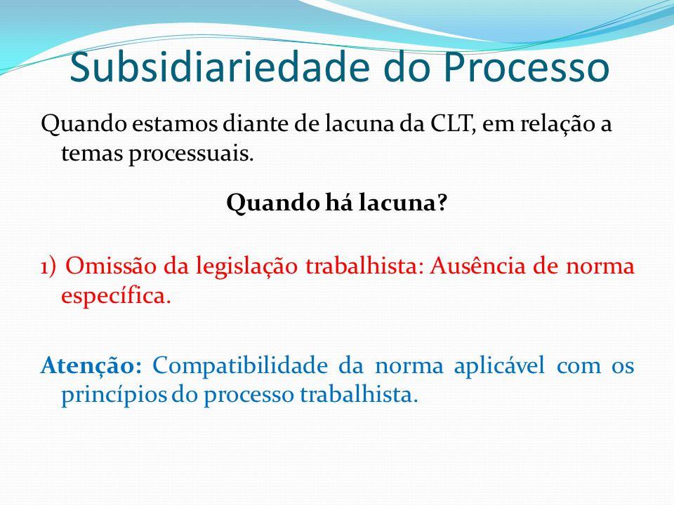 Subsidiariedade do Processo Quando estamos diante de lacuna da CLT, em relação a temas processuais. Quando há lacuna? 1) Omissão da legislação trabalh
