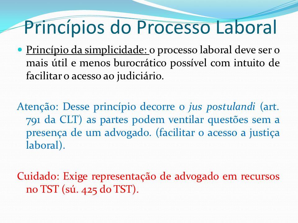 Princípios do Processo Laboral Princípio da simplicidade: o processo laboral deve ser o mais útil e menos burocrático possível com intuito de facilitar o acesso ao judiciário.