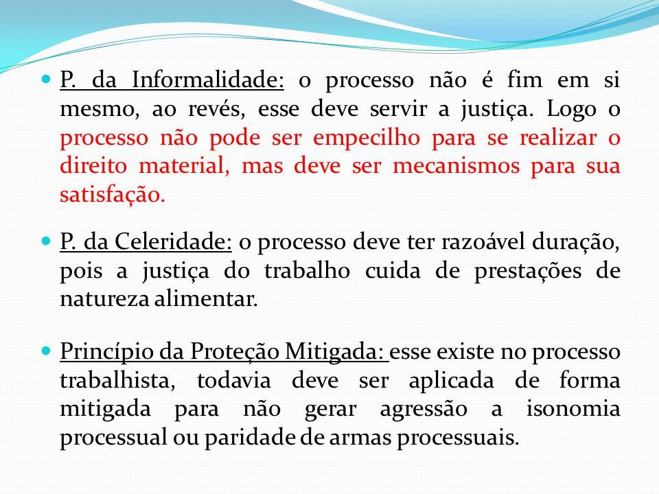 P.da Informalidade: o processo não é fim em si mesmo, ao revés, esse deve servir a justiça.