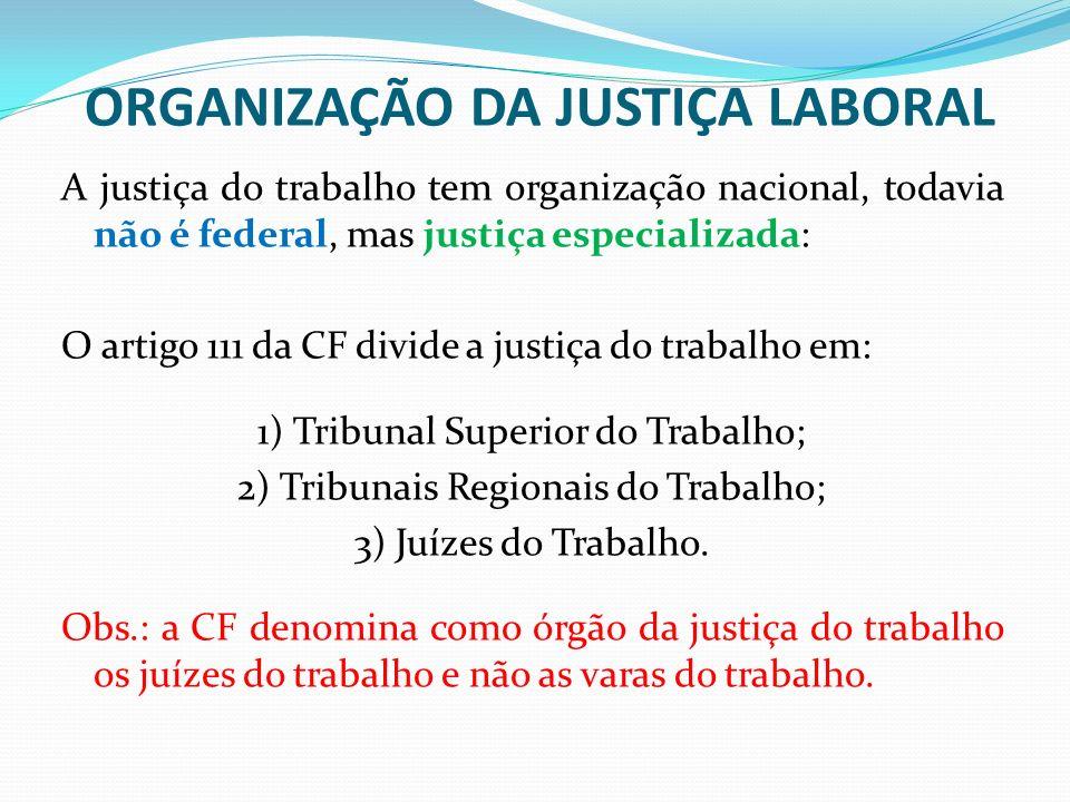 ORGANIZAÇÃO DA JUSTIÇA LABORAL A justiça do trabalho tem organização nacional, todavia não é federal, mas justiça especializada: O artigo 111 da CF divide a justiça do trabalho em: 1) Tribunal Superior do Trabalho; 2) Tribunais Regionais do Trabalho; 3) Juízes do Trabalho.