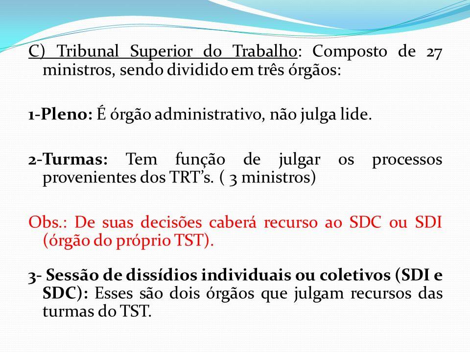 C) Tribunal Superior do Trabalho: Composto de 27 ministros, sendo dividido em três órgãos: 1-Pleno: É órgão administrativo, não julga lide. 2-Turmas: