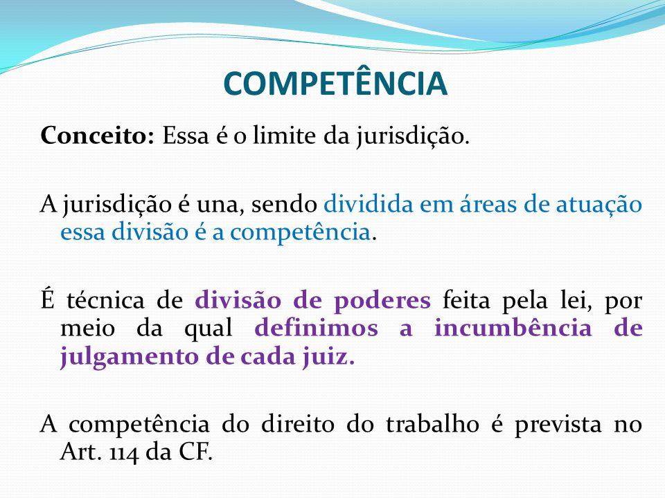 COMPETÊNCIA Conceito: Essa é o limite da jurisdição. A jurisdição é una, sendo dividida em áreas de atuação essa divisão é a competência. É técnica de