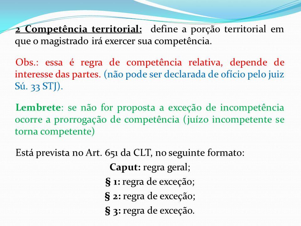 2 Competência territorial: define a porção territorial em que o magistrado irá exercer sua competência. Obs.: essa é regra de competência relativa, de