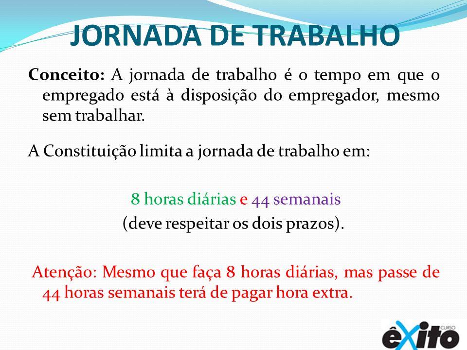JORNADA DE TRABALHO Conceito: A jornada de trabalho é o tempo em que o empregado está à disposição do empregador, mesmo sem trabalhar. A Constituição