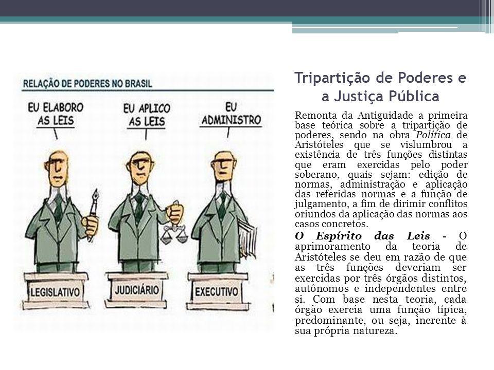 Tripartição de Poderes e a Justiça Pública Remonta da Antiguidade a primeira base teórica sobre a tripartição de poderes, sendo na obra Política de Ar