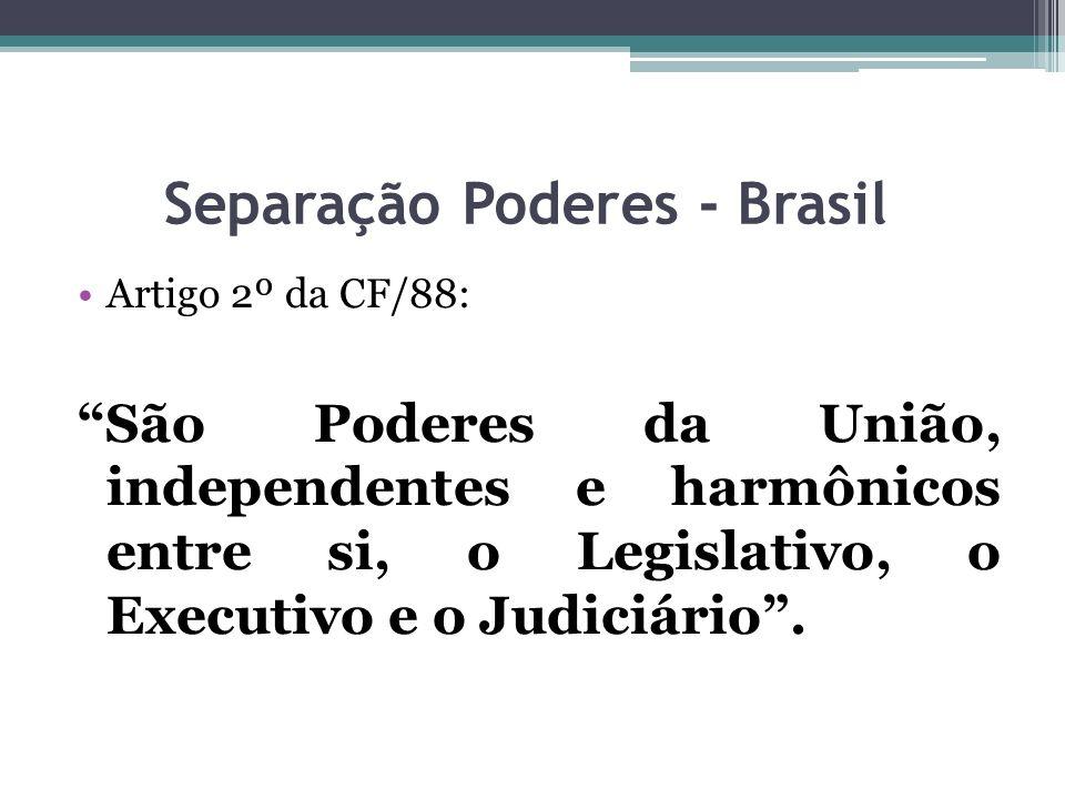 Separação Poderes - Brasil Artigo 2º da CF/88: São Poderes da União, independentes e harmônicos entre si, o Legislativo, o Executivo e o Judiciário.
